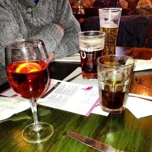 Glasses of beer and wine