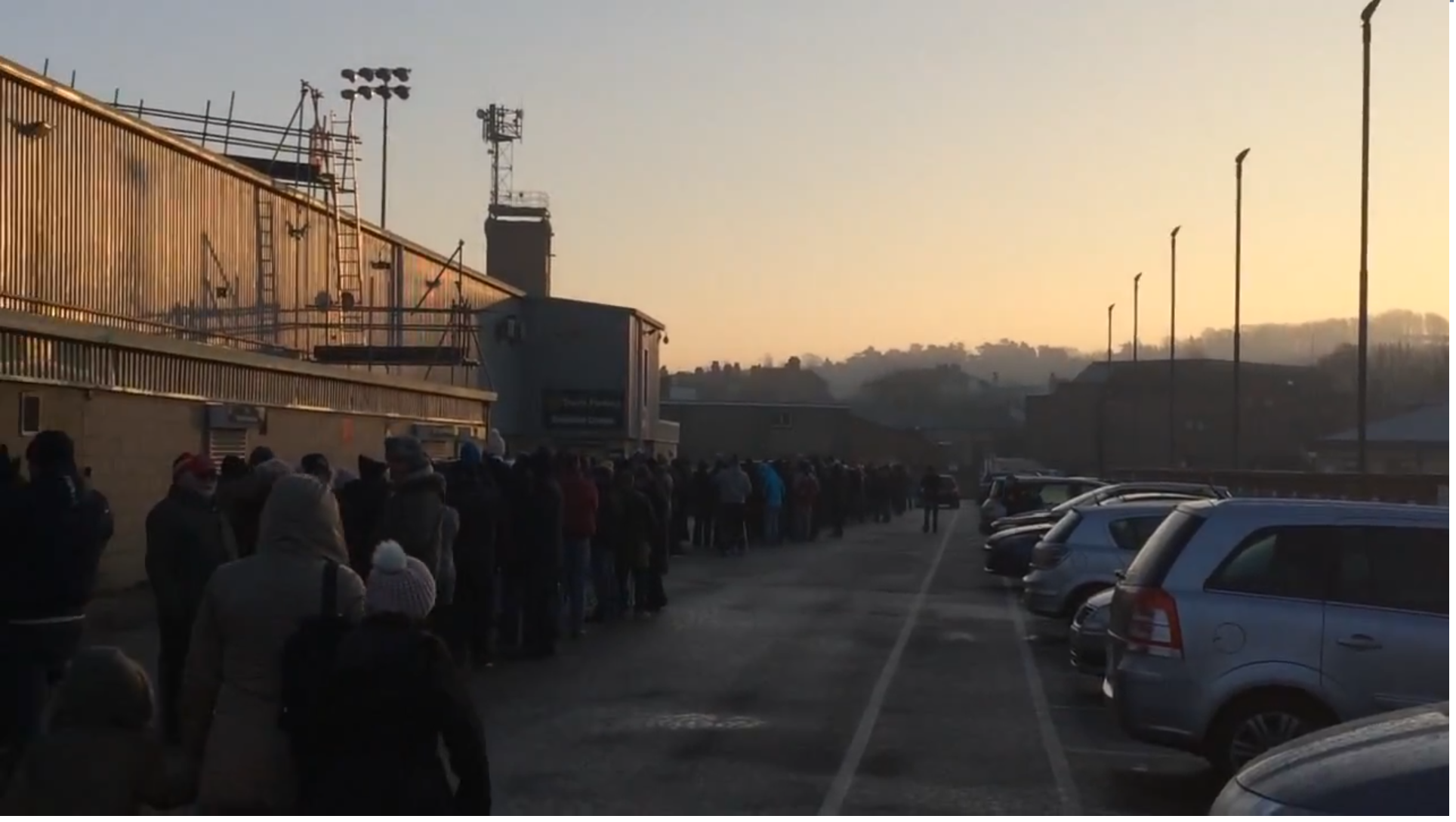 Fans queuing outside Sincil Bank this morning