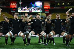 All Blacks doing Haka before their match facing South Africa